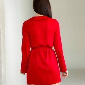 Придбати червоне жіноче шовкове плаття-піджак на запах з поясом (розмір 42-48) в інтернеті