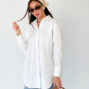 Купить белую женскую удлиненную рубашку свободного кроя в интернете (размер 42-50)