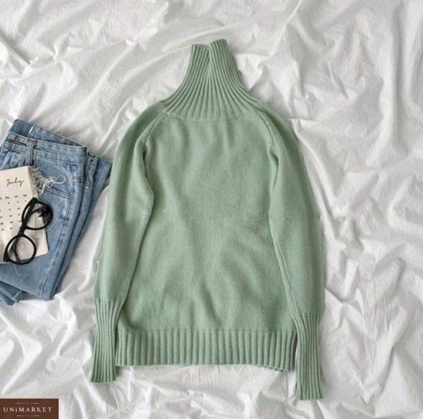 Приобрести оливкового цвета женский универсальный свитер под горло (размер 42-48) в интернете