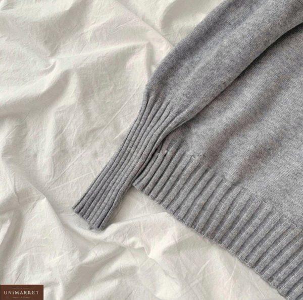 Купить серый универсальный свитер для женщин под горло (размер 42-48) по низким ценам