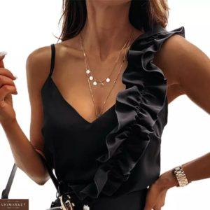 Заказать черного цвета нежную майку женскую с рюшей недорого