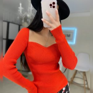 Заказать красный удлиненный топ женский с длинным рукавом дешево