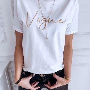 Заказать белую футболку женскую с вышитой надписью Vogue недорого