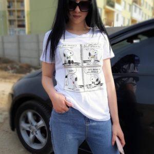 Купить по скидке женскую принтованную футболку snoopy белого цвета