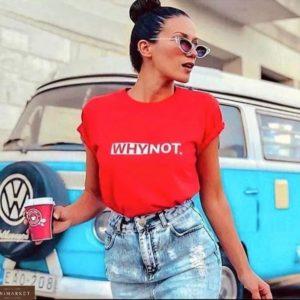 Купить выгодно красную футболку прямого кроя WhyNot для женщин