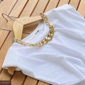Заказать недорого женскую базовую футболку белого цвета с плечиками