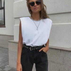 Купить белую базовую футболку женскую с плечиками онлайн