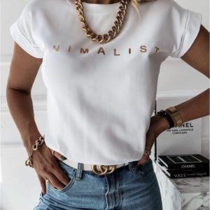 Заказать в интернете женскую футболку оверсайз с надписью Minimаlist белого цвета
