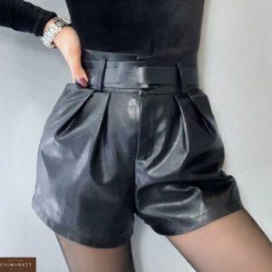 Заказать женские шорты из эко кожи черного цвета с поясом без пряжки недорого
