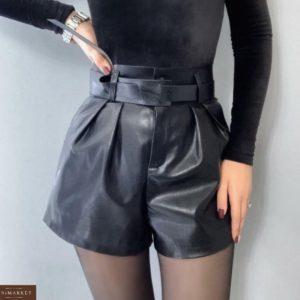 Купить черные женские шорты из эко кожи с поясом без пряжки в Украине модные