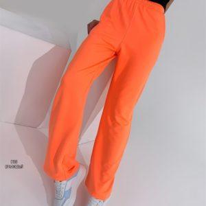 Купить оранж женские однотонные спортивные штаны в интернете прямого кроя на весну