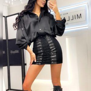 Купить женскую черную трикотажную юбку с эффектом утяжки по скидке