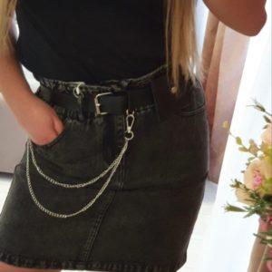 Купить черную женскую джинсовую юбку на резинке+пояс по скидке