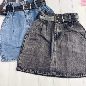 Заказать онлайн юбку для женщин из джинса на высокой талии голубого и серого цвета