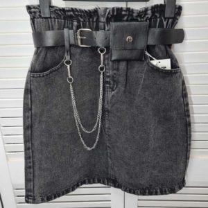 Заказать женскую джинсовую черную юбку на резинке+пояс недорого