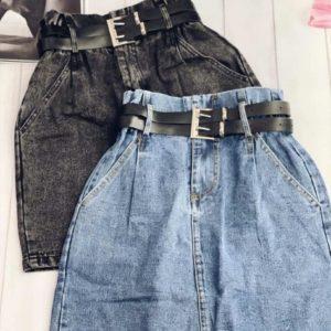 Купить по скидке женскую юбку из джинса голубую, серую на высокой талии