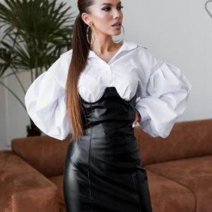 Купить женскую юбку с эффектом корсета черную из экокожи по низким ценам