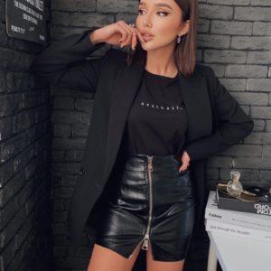Купить черную женскую юбку из эко кожи на двойной змейке в интернете