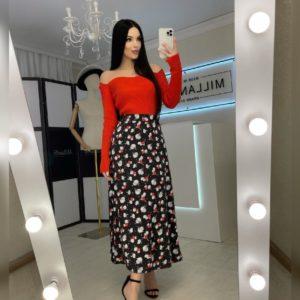 Купить недорого женскую шелковую юбку черную миди с принтом в цветы