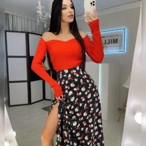 Заказать цветочную шелковую юбку миди черную с принтом женскую в интернете