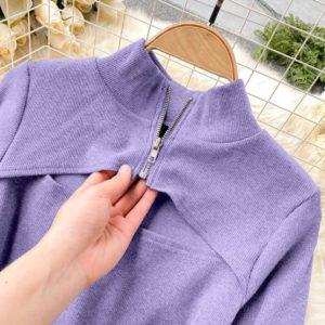 купить сиреневый боди лиловый с длинным рукавом и вырезом на груди дешево в Украине