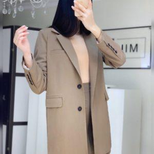 Приобрести по низким ценам костюм: удлиненный пиджак цвета кофе с юбкой мини для женщин