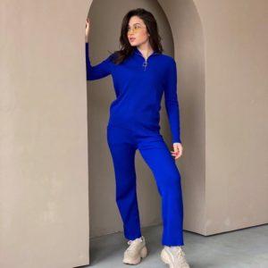 Купить по низким ценам женский однотонный вязаный костюм со змейкой синий на воротнике