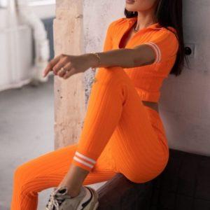 Купить дешево женский вязаный костюм с топом оранжевый с коротким рукавом