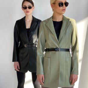 Приобрести оливковый, черный пиджак для женщин из эко кожи с поясом в Украине