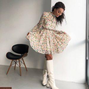 Заказать женское белое шифоновое платье с цветочным принтом по скидке