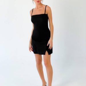Купить женское черное платье мини на бретельках недорого