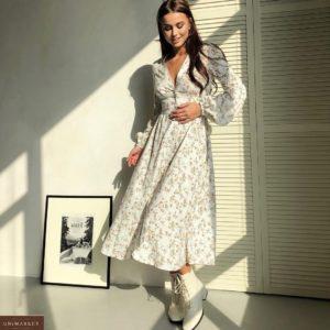 Заказать белое весеннее женское платье с длинным рукавом и цветочным принтом недорого