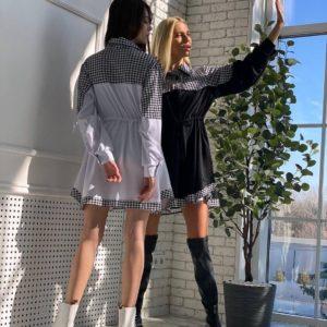 Заказать черное, белое женское платье рубашка по скидке из трикотажа с поясом для женщин