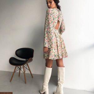 Купить шифоновое платье для женщин с цветочным принтом онлайн белого цвета