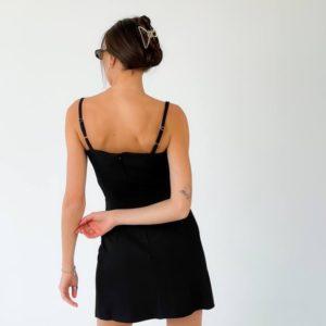 Заказать недорого женское черное платье мини на бретельках в Украине