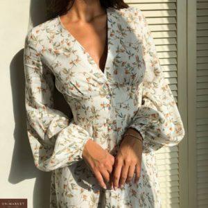 Купить белое весеннее платье для женщин с длинным рукавом и цветочным принтом в интернете