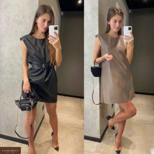 Заказать черное, мокко платье женское из эко кожи на замше с поясом недорого