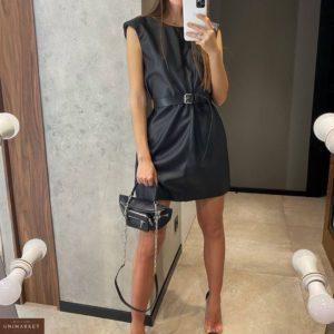 Купить черное женское платье из эко кожи на замше с поясом в интернете