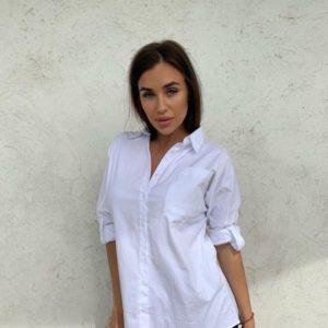 Купить по низким ценам женскую рубашку из коттона с принтом белого цвета