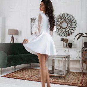 Купить летнее платье из атласного шёлка белого цвета по выгодной цене