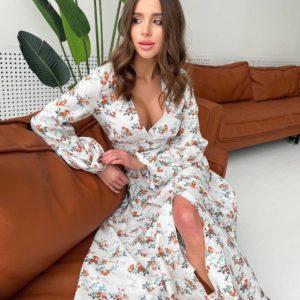 весеннее платье в цветочек по скидкам