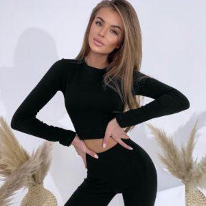 заказать костюм двойку в чёрном цвете с длинным рукавом по выгодному предложению от поставщика