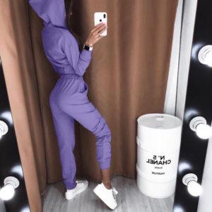 купить лиловый костюм с кофтой с капюшоном для прогулок недорого
