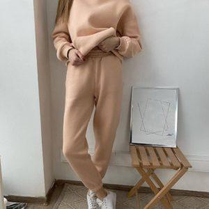 купить женский спортивный костюм с брюками в бежевом цвете онлай