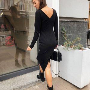 купить чёрное платье с V-вырезом на спине по низкой цене онлай