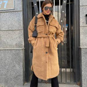 заказать женское пальто цвета кемел альпака по низкой цене с доставкой по Украине