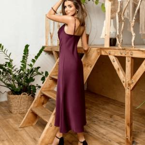 Приобрести платье из шёлка в винном цвете люкс качества