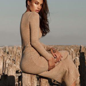 заказать длинное платье миди бежевого цвета недорого онлайн