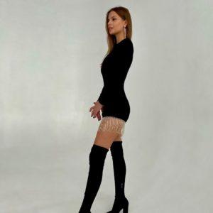 заказать элегантное облегающее платье мини в чёрном цвете дёшево со скидкой от магазина