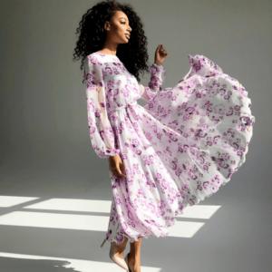 Купить розовое платье из шифона с длинным рукавом